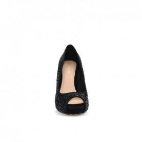 Menbur 20662 black glitter open-toe decoltè heels