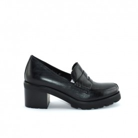 Barachini DD213A black medium heels loafer shoes