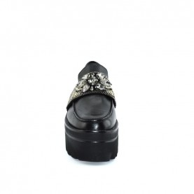 Barachini DD203A black jewels loafer shoes