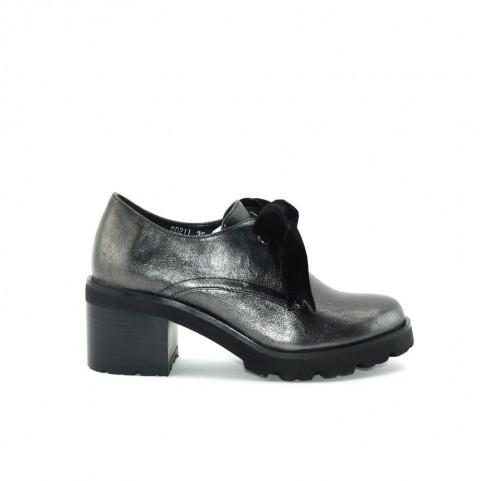 Barachini DD211G gun metal medium heels lace ups shoes