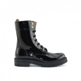 Alviero Martini N0462 black leather combat boots
