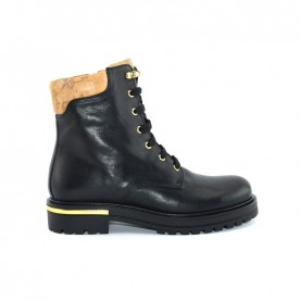 Alviero Martini N0452 black leather combat boots