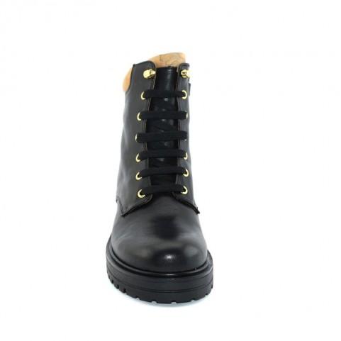 Alviero Martini N0452 black leather combat boots