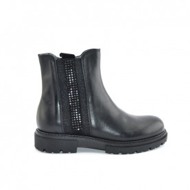 Morelli 51096 black leather ankle boots