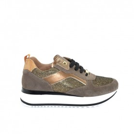 Alviero Martini N0744 beaver and glitter sneakers