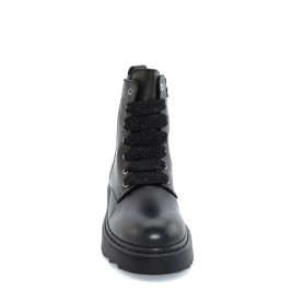 Morelli 51143 black combact boots with paillettes