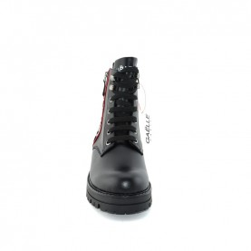 Gaelle G-464 black lace ups ankle boots with logo and zip