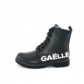 Gaelle G-452 woman black lace ups ankle boots with logo