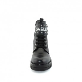 Gaelle G-464 woman black lace ups ankle boots with logo and buckle