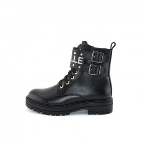 Gaelle G-464 girl black lace ups ankle boots with logo and buckle
