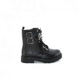 Gaelle G-464 baby girl black lace ups ankle boots with logo and buckle