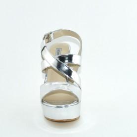 Barachini 8085A silver mirror leather high heels sandals