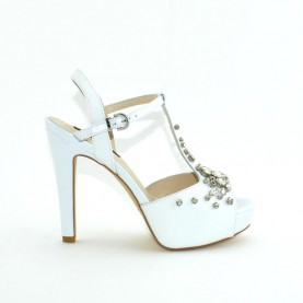 Barachini 8584D white leather high heels sandals