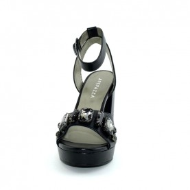Apepazza CSN01 black leather woman sandals