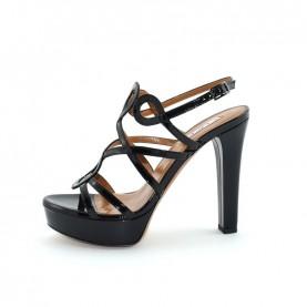 Tiffi GN03 black pathent leather high heels sandals