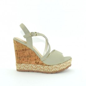 Apepazza FRT46 ivory leather wedge woman sandals