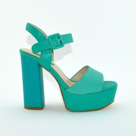 Barachini 8073S multi emerald leather high heels sandals