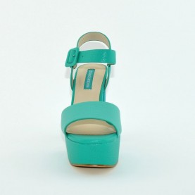 Barachini 8073S multi emerald leather high heels sandals