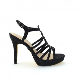Menbur 06829 001 black glitter high heels sandals