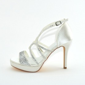 Menbur 070259 004 ivory high heels sandals with strass