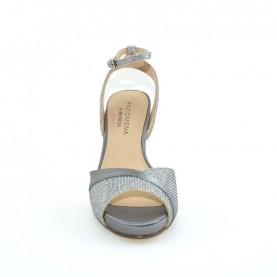 Menbur 07323 071 silver glitter medium heels sandals