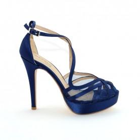 Menbur 07647 021 blue satin high heels sandals