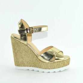 Byblos Blu 672125 gold high wedge sandals