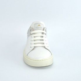 Morelli 00307 white leather sneakers with strass