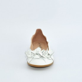 Morelli 00568 white leather flat shoes with flowers