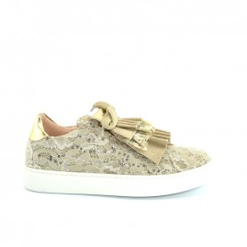 Morelli 00312 beige lace sneakers with paillettes and rouches