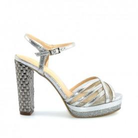 Menbur 09490 071 grey glitter high heels sandals