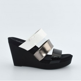 Calvin Klein CK Jilleean black, pewter and white high wedge sandals