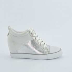 Calvin Klein CKJ Rory white and silver wedge sneakers