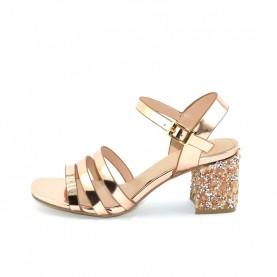 Menbur 20113 gold rose laminated sandals