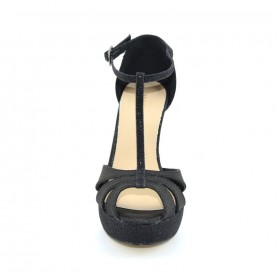 Menbur 06542 black glitter high heels sandals