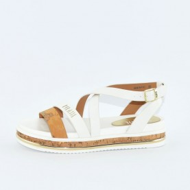 Alviero Martini 10216 geo beige and white sandal