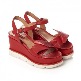 Barachini CC103E red wedge sandals