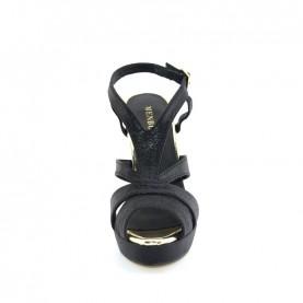 Menbur 20438 black glitter high heels sandals