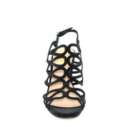 Menbur 09524 black glitter high heels sandals