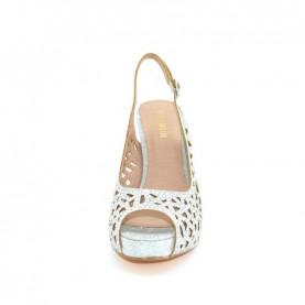 Menbur 20258 silver glitter open toe slingback heels