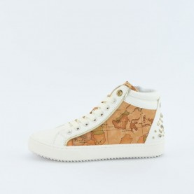 Alviero Martini 10197 geo beige and white sneakers