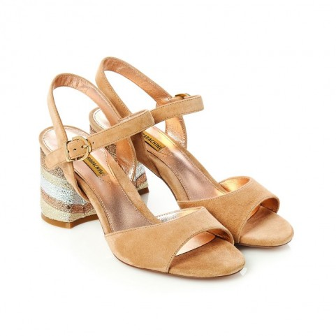 Barachini CC201C camel medium heels sandals