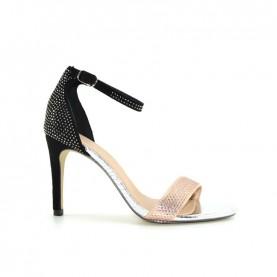 Menbur 20224 rose and black high heels sandals