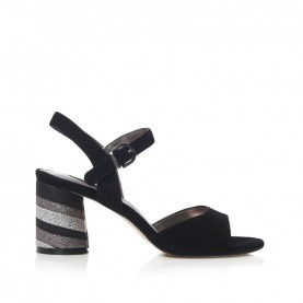 Barachini CC201E black medium heels sandals