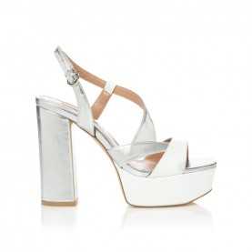 Barachini CC213B white and silver high heels sandals