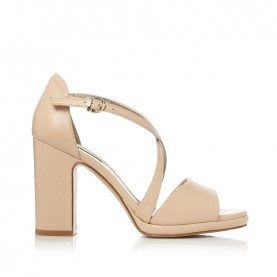 Barachini CC221P camel medium heels sandals