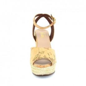 Alviero Martini E852 geo beige wedge sandal