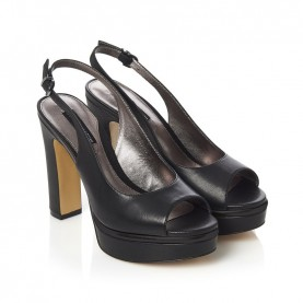 Barachini CC232S black high heels chanel sandals