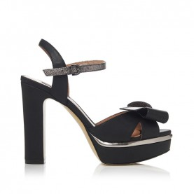 Barachini CC235D black and gun metal high heels sandals