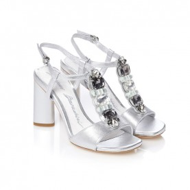 Barachini CC643Y silver medium heels sandals